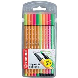 Stabilo - Stabilo Point 88 + Pen 68 Neon 10lu Paket