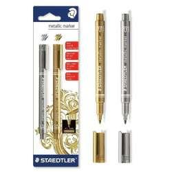 Staedtler - Staedtler Metallic Marker 1-2mm Metalik Kalem Seti 2li 8323-S BK2