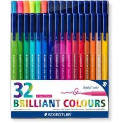 Staedtler - Staedtler Triplus Color Keçe Uçlu Kalem Brilliant Colours 32li