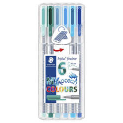 Staedtler - Staedtler Triplus Fineliner İnce Uçlu Keçeli Kalem 0.3mm 6lı Ocean