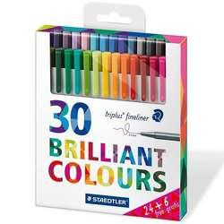 Staedtler - Staedtler Triplus Fineliner İnce Uçlu Keçeli Kalem 0.3mm Brilliant Colours 30lu
