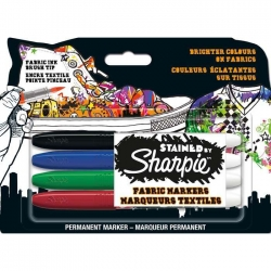 Sharpie - Stained By Sharpie Fabric Markers Textil Kalem Seti 4lü Set
