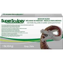 Sculpey - Super Sculpey Modelleme Kili Orta Karıştırılmış Gri 454g SSMED1