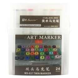 Anka Art - Superior Çift Uçlu Art Marker MS-837 24lü Set Plastik Kutu (1)