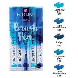 Talens - Talens Ecoline Brush Pen Setler 5li Mavi Tonlar