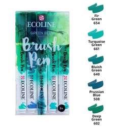 Talens - Talens Ecoline Brush Pen Setler 5li Yeşil-Mavi Tonlar