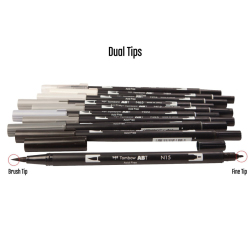 Tombow - Tombow Dual Brush Pen Grayscale Palette 10lu Set 56171 (1)