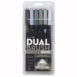 Tombow - Tombow Dual Brush Pen Grayscale Palette 6lı Set 56166