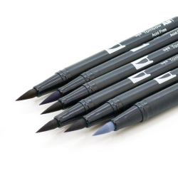 Tombow - Tombow Dual Brush Pen Grayscale Palette 6lı Set 56166 (1)