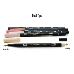 Tombow - Tombow Dual Brush Pen Portrait Palette 6lı Set (1)