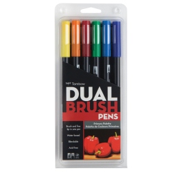 Tombow - Tombow Dual Brush Pen Primary Palette 6lı Set 56162
