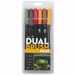 Tombow - Tombow Dual Brush Pen Secondary Palette 6lı Set 56163