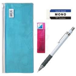 Tombow - Tombow SH300 Grip Mekanik Uçlu Kalem 0.7mm Kalemlikli Set Beyaz