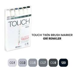 Touch - Touch Twin Brush Marker Kalem 6lı Set Gri Renkler