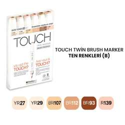 Touch - Touch Twin Brush Marker Kalem 6lı Set Ten Renkleri (B)