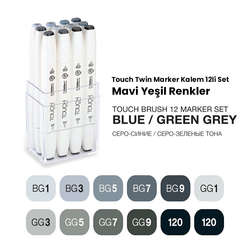Touch - Touch Twin Brush Marker Kalem 12li Set Mavimsi Griler (1)