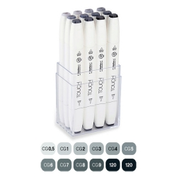 Touch - Touch Twin Brush Marker Kalem 12li Set Soğuk Griler