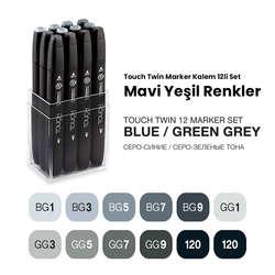 Touch - Touch Twin Marker Kalem 12li Set Mavi Yeşil Renkler