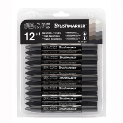 Winsor & Newton - Winsor&Newton Brush Marker 12+1 Set Neutral Tones
