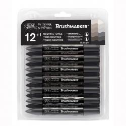 Winsor & Newton - Winsor&Newton Brush Marker 12+1 Set Neutral Tones
