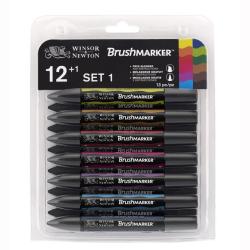 Winsor & Newton - Winsor&Newton Brush Marker 12+1 Set Vibrant Tones