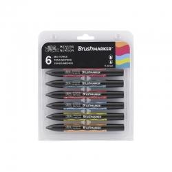 Winsor & Newton - Winsor&Newton Brush Marker 6lı Set Mid Tones