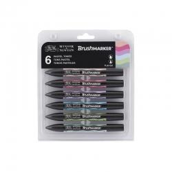 Winsor & Newton - Winsor&Newton Brush Marker 6lı Set Pastel Tones