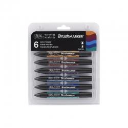 Winsor & Newton - Winsor&Newton Brush Marker 6lı Set Rich Tones