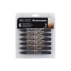 Winsor & Newton - Winsor&Newton Brush Marker 6lı Set Skin Tones