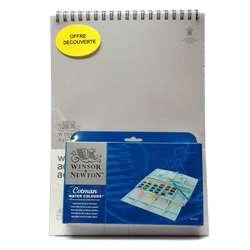 Winsor & Newton - Winsor&Newton Cotman Sulu Boya 24lü Yarım Tablet + Defter Hediyeli 26x36cm