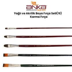 Anka Art - Yağlı ve Akrilik Boya Fırça Seti (12) Karma Fırça