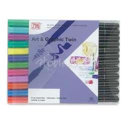 Zig - Zig Art & Graphic Twin Brush Pen Çift Uçlu Kalem 12li Set Bright