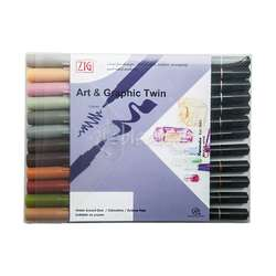 Zig - Zig Art & Graphic Twin Brush Pen Çift Uçlu Kalem 12li Set Muted