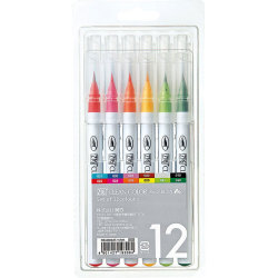Zig - Zig Clean Color Real Brush Fırça Uçlu Marker Kalem 12li Set