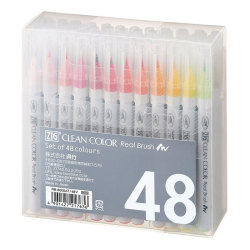 Zig - Zig Clean Color Real Brush Fırça Uçlu Marker Kalem 48li Set